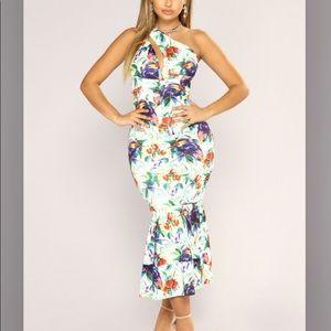 Floral ruffle dress.
